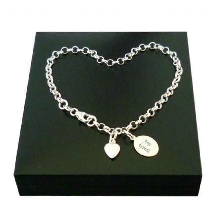 Memorial Charm Bracelet with Engraving